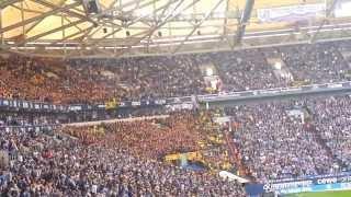 Einmarsch und dat Feuerwerk Schalke S04 - Dortmund  BVB Derby 26.10.2013