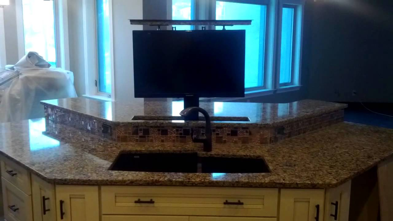 Motorized TV lift in the kitchen - YouTube
