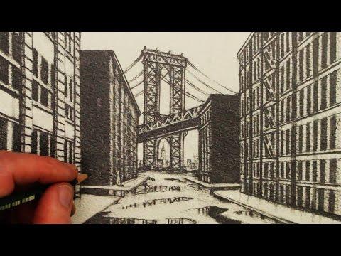 Bagaimana Draw 1-Titik Perspektif: A View Of Manhattan Bridge