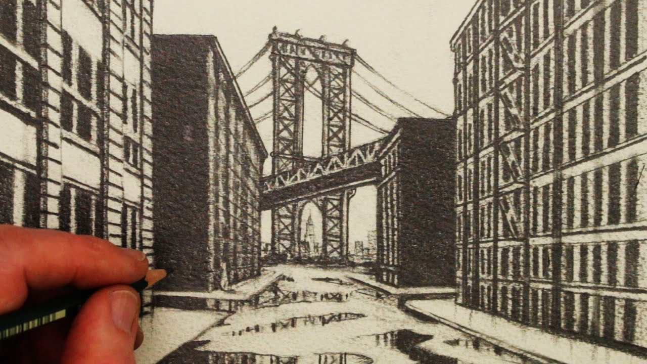 Line Drawing Nyc : How to draw 1 point perspective: a view of manhattan bridge youtube