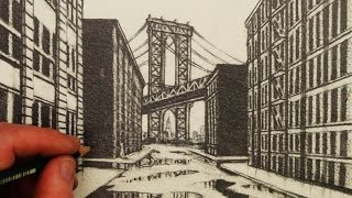 How to Draw 1-Point Perspective: A View of Manhattan Bridge