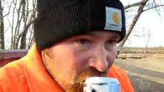 Worlds fastest human can opening beer chugging deer hunter!