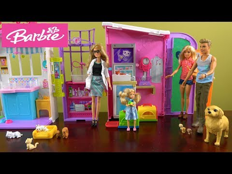 Barbie Pet Care Center Story with Barbie and Ken, Barbie Sparkle Mansion, Chelsea Pets and Friends