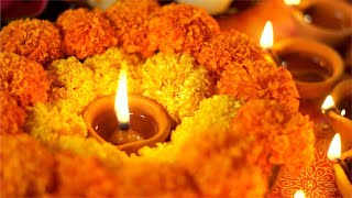 Festival of lights Diwali - diyas and marigold flowers