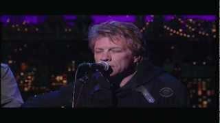 Jon Bon Jovi Not Running Anymore Letterman 12 20 2012