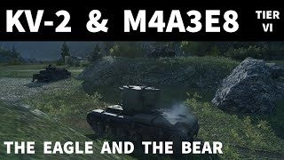 World of Tanks - KV2 & M4A3E8 Platoon - The Eagle and the Bear - Mountain Pass