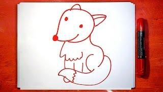 Как рисовать Лису Лисичку, Урок рисования красным маркером, РыбаКит(Если вы любите рисовать маркером, то смотрите этот урок рисования для детей. Как Папа РыбаКит нарисовал..., 2016-06-08T06:56:05.000Z)