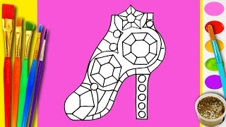 Learn to Draw and Color a Diamond Barbie Shoes Coloring Page for Kids learning Drawing Videos