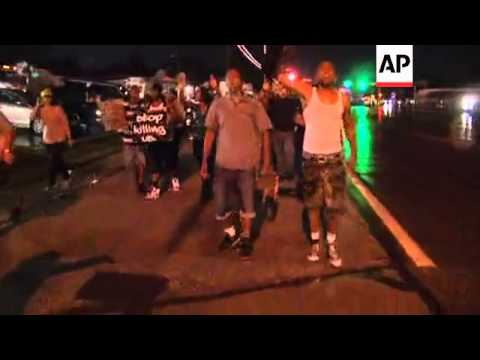 Protesters returned to the streets in Ferguson, Missouri, Wednesday evening but in smaller numbers t