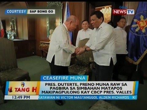Pres. Duterte, preno muna raw sa pagbira sa simbahan matapos makipagpulong kay CBCP Pres. Valles