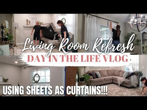 Living room refresh | Day in the life vlog | New rug & Curtain hack!