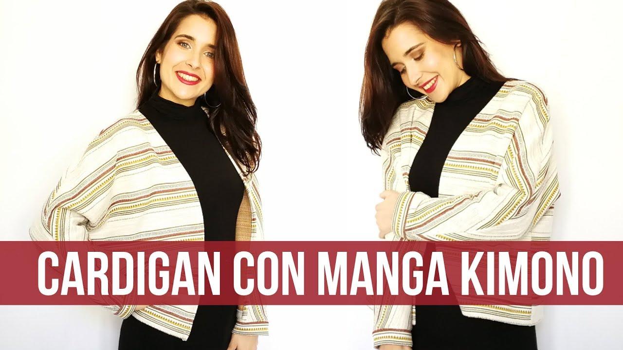 Chaqueta o cardigan con manga kimono, sin patrones! - YouTube