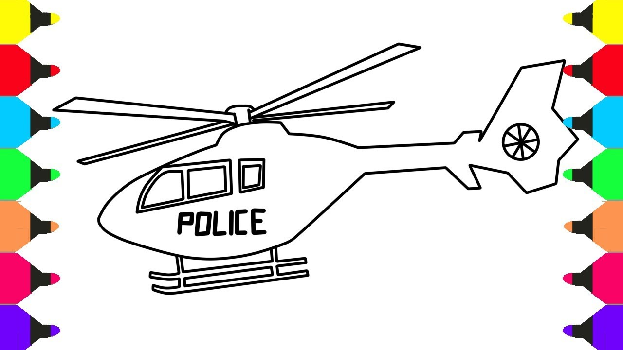 how to draw and color police helicopter coloring pages for kids