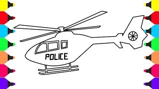 How to Draw and Color Police Helicopter - Coloring Pages For Kids Learn Colors For Baby