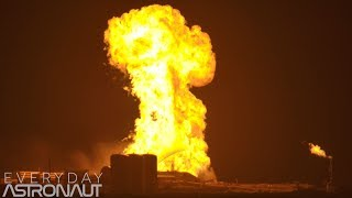 SpaceX StarHopper engine test and unexpected fireball (4K Slow Mo)