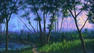 как рисовать лес на закате с использованием акрила на холсте живопись  урок  искусство  класс