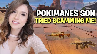 Pokimanes Son tried to scam me! 😂 (Scammer Get Scammed) Fortnite Save The World
