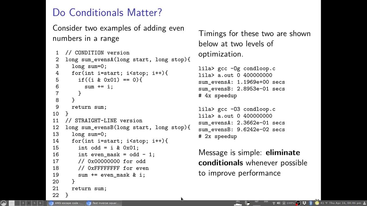 UMN CSCI 2021 Micro-Optimizations Part 3