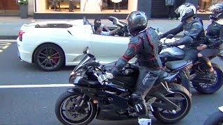 Superbikes and Supercars Loud Sounds in the City!!