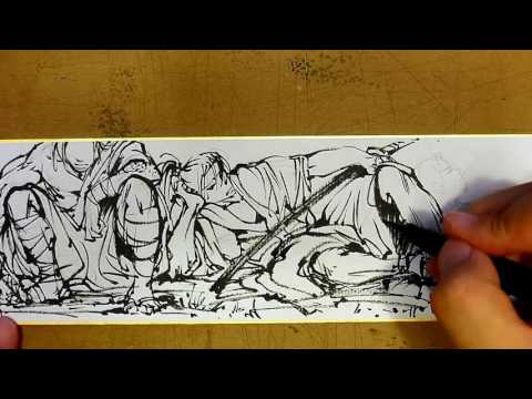 3 samurai on shikishi – how to ink loosely with sumi ink