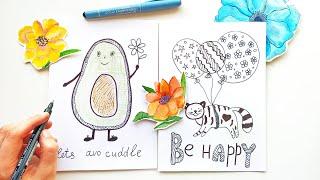 beginners easy doodles fun cards greeting drawing diy