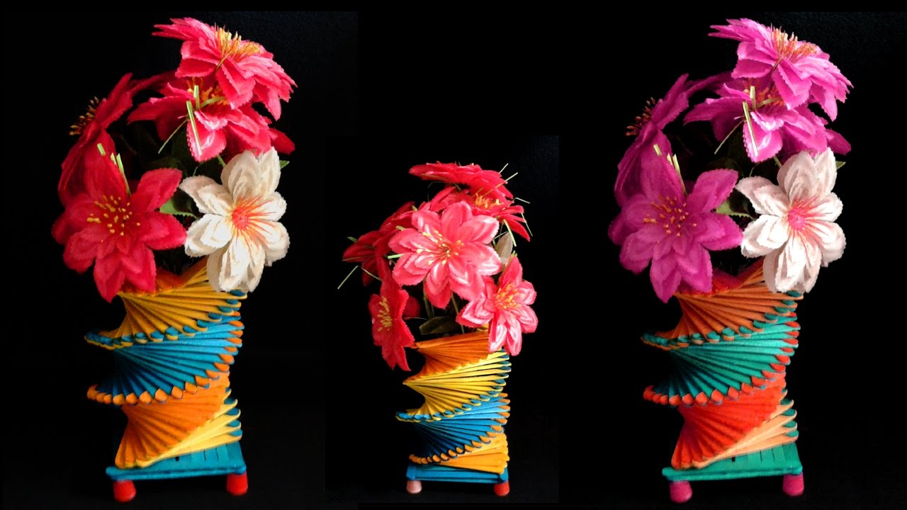 How To Make Popsicle Stick Flower Vase Easy