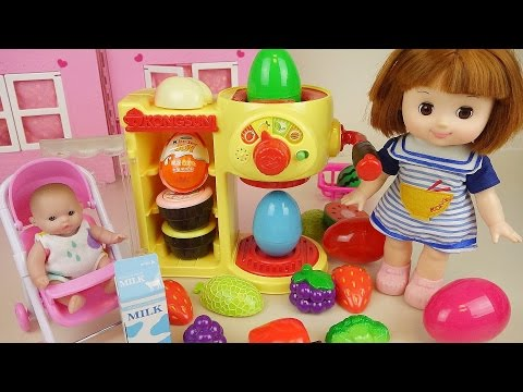 Thumbnail: Fruit juice shake surprise eggs and Kinder joy with Baby doll toys play