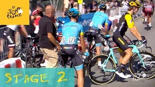 Sanchez crashed, Fuglsang finished in sprint.  Stage 2 of Tour de France 2018