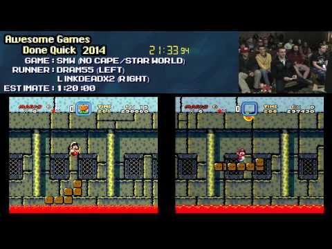 Super Mario World :: No Cape/Star World RACE Live (0:35:27) +Small Mario Run #AGDQ 2014