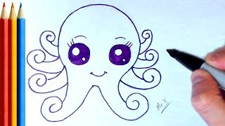 How to Draw Simple Cute Octopus - Step by Step Tutorial