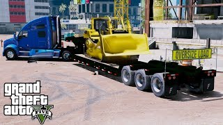 GTA 5 REAL LIFE MOD - ANOTHER DAY AT WORK #42 New Oversize Load Lowboy Trailer Hauling Bulldozer
