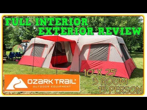 Tent Review - OZARK TRAIL HUGE 3 ROOM 15 PERSON CABIN TENT camping