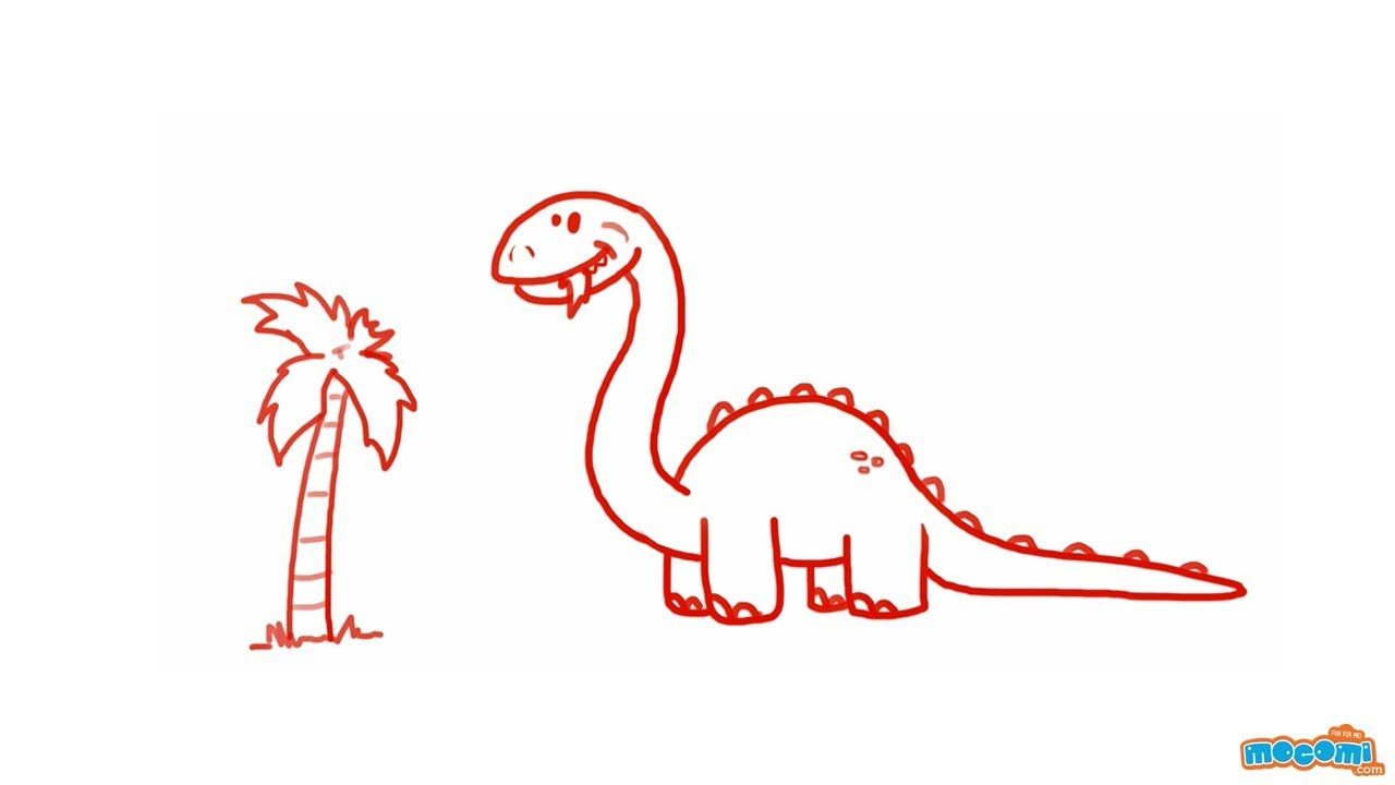 How to draw a dinosaur step by step drawing for kids educational videos by mocomi