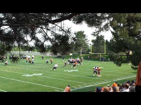 Peyton Manning throws out pattern to Brandon Stokley Broncos Training Camp 2012-08-15