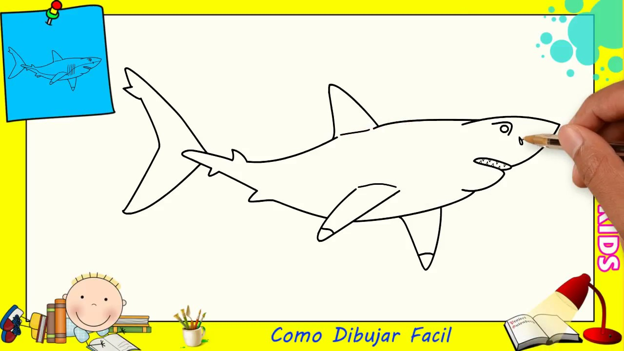Como Dibujar FÁcil MÉtodo Para Principiantes Y Como: Dibujo Tiburon Para Ninos