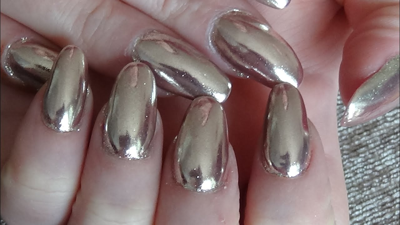 Rose gold chrome nails - YouTube