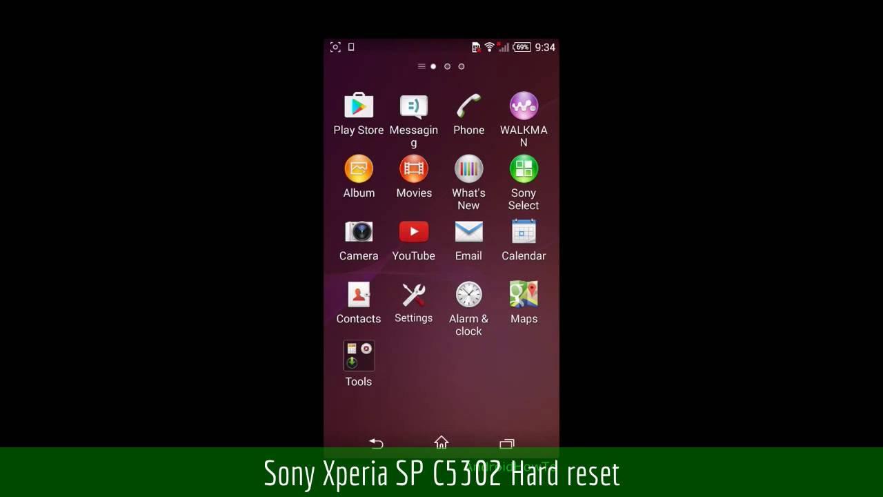Sony xperia sp c5302 hard reset