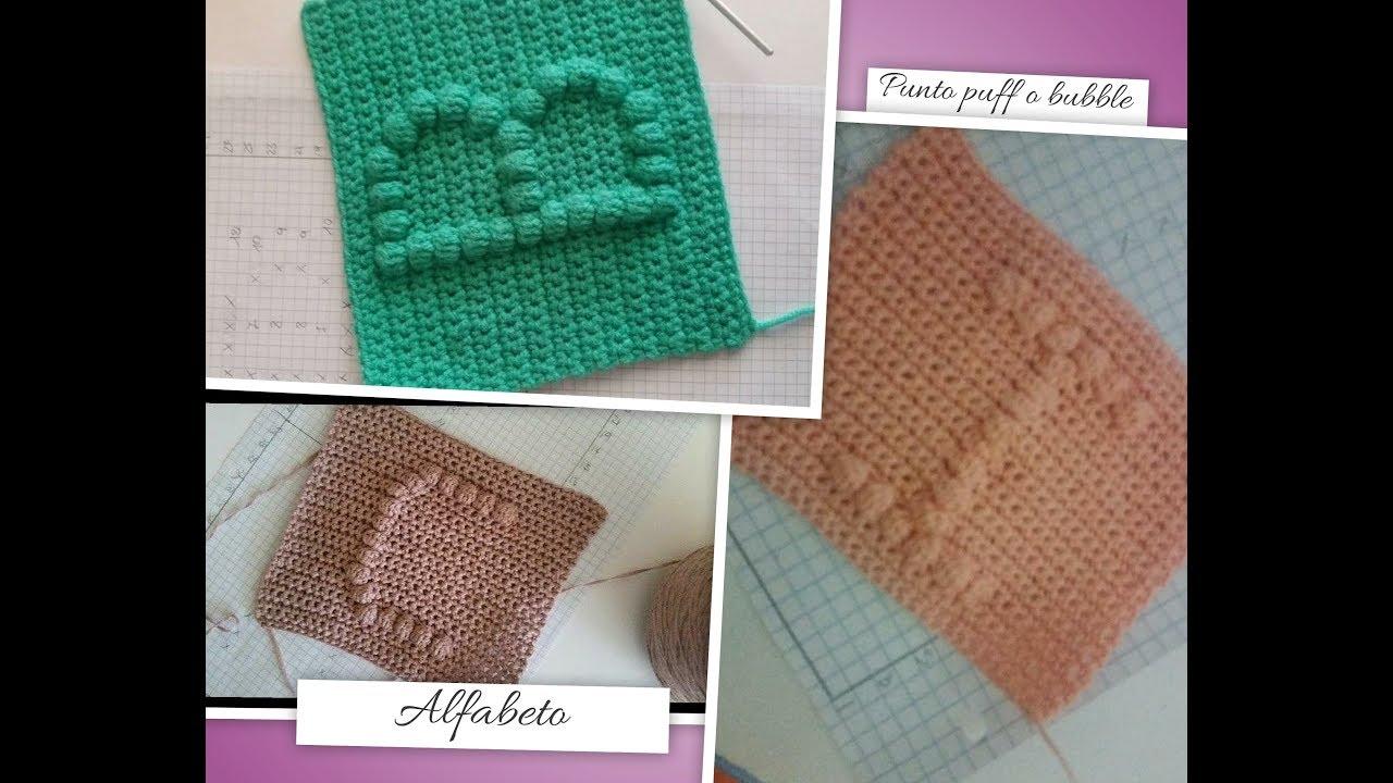 Punto Crochet All Uncinetto.Schema Tutorial Lettera T Con Punto Puff O Bubble All