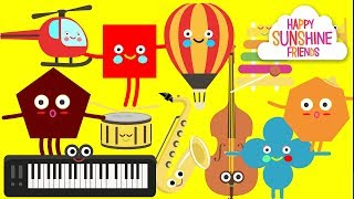 Find shapes, Transport and Musical Instruments | Kids learning lesson