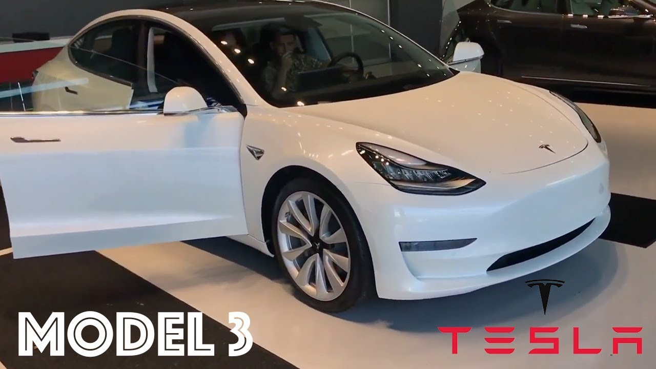 White Production Tesla Model 3 Walk Around With Huge Trunk E First