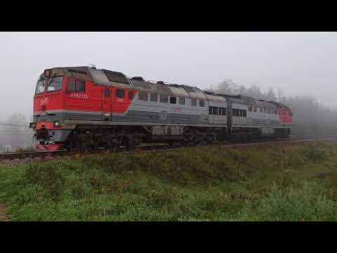 Поезд-призрак или 2ТЭ116 на станции Кингисепп Октябрьской железной дороги.
