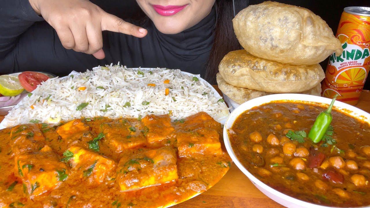 ASMR EATING PURI+CHOLE MASALA+FRIEDRICE+PANEER BUTTER MASALA+SALAD *VEGETARIAN FOOD* FOOD VIDEOS