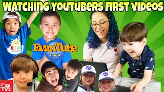 Kid YouTubers FIRST VIDEOS! Reacting to Ryan ToysReview EvanTubeHD Action Movie Kid Gabe and Garrett