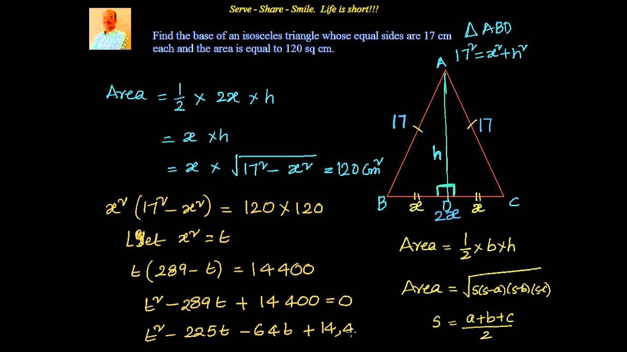 Quadratic equations example find the base of an isosceles quadratic equations example find the base of an isosceles triangle given equal sides and area youtube ccuart Gallery