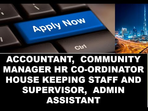 ACCOUNTANT  COMMUNITY MANAGER HR COORDINATOR HOTEL Admin Assistant JOB OPENINGS