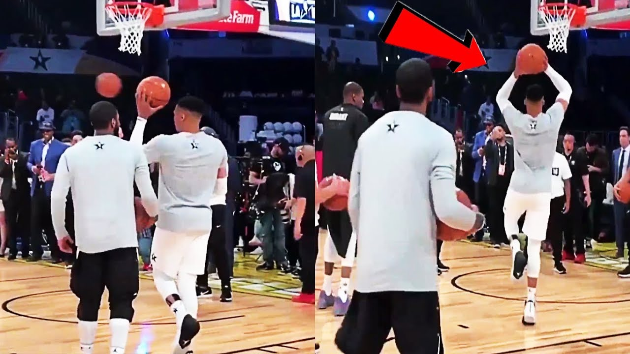 Russell Westbrook teaches Kyrie Irving how to DUNK OFF 1 FOOT