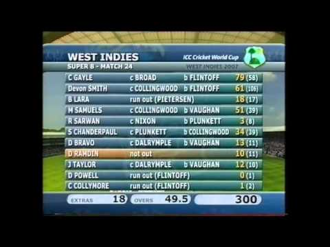 BBC Cricket: 2007 World Cup, England v West Indies