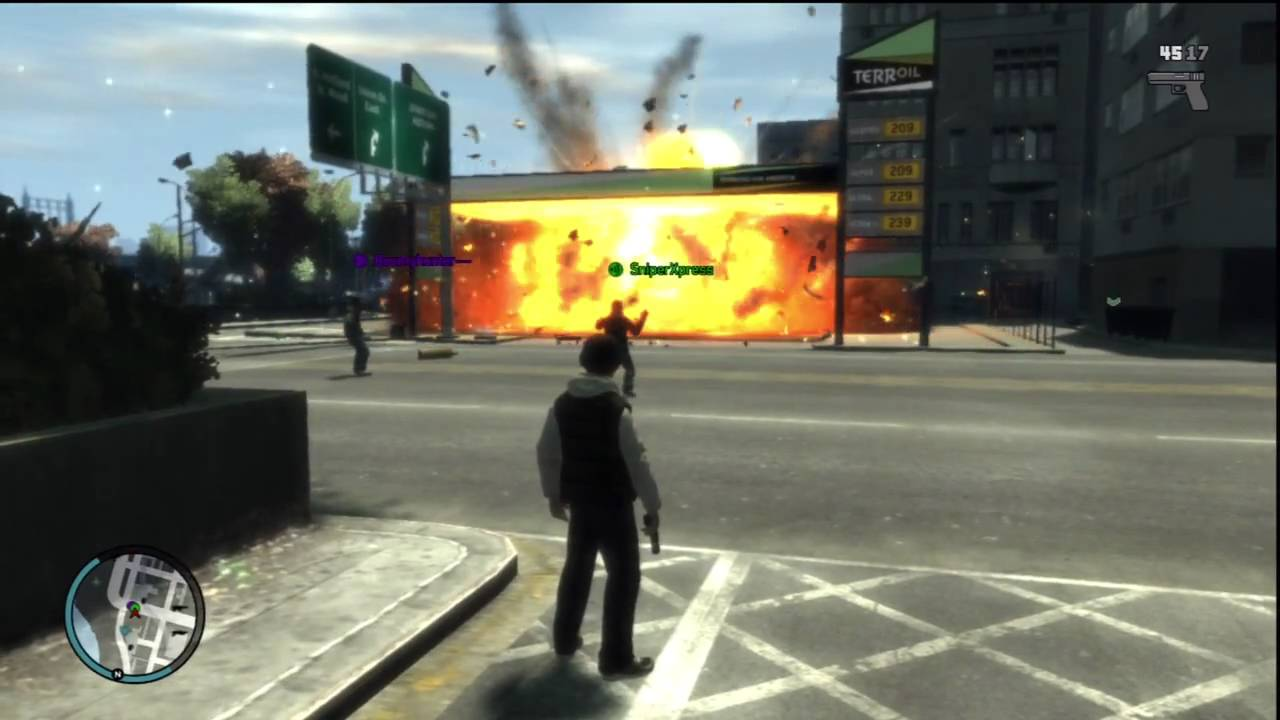 Find A Gas Station >> GTA IV gas station explosion with cars!! - YouTube