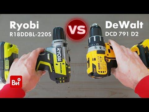 Сравнение аккумуляторных бесщеточных шуруповертов Ryobi R18DDBL и DeWalt DCD 791 D2