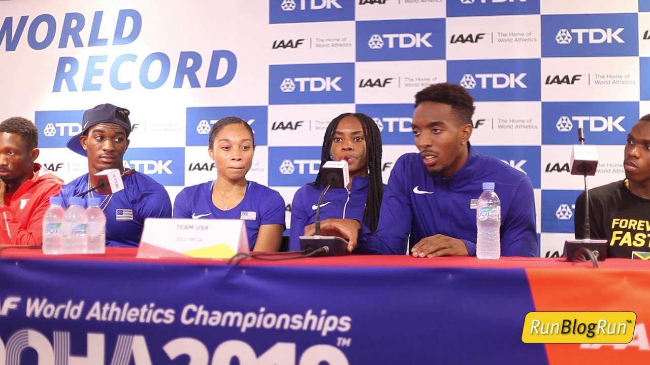 Doha WC 2019 - 4x400m Relay Press Conference